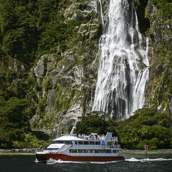 Boat at Milford Sound, New Zealand